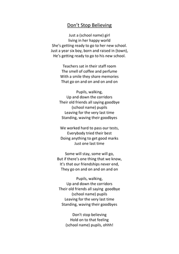 Alternative lyrics to the song dont stop believing by journey alternative lyrics to the song dont stop believing by journey performed to a karaoke version downloaded from itunes stopboris Gallery