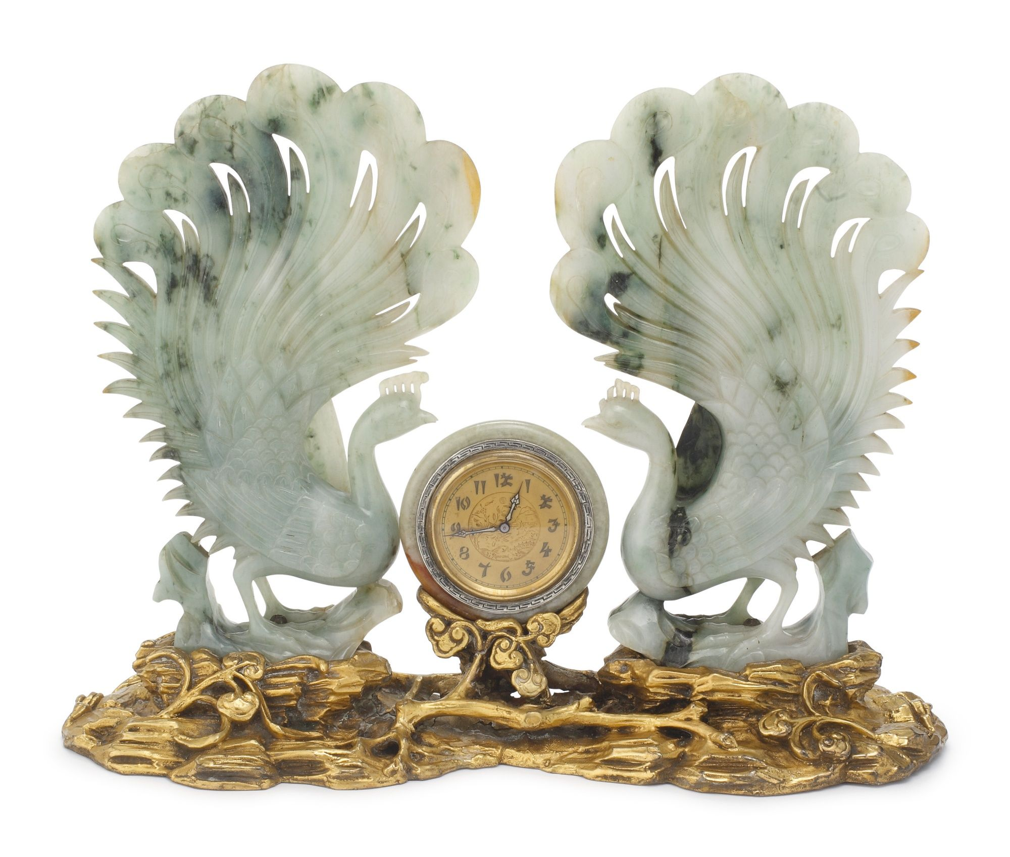 An American silver and jade Chinoiserie clock, attributed