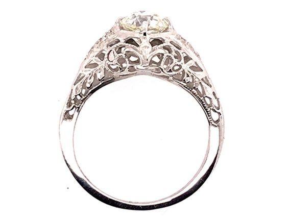 Photo of Vintage Diamond Engagement Ring .93ct Old Euro 18K Art Deco Antique Deco