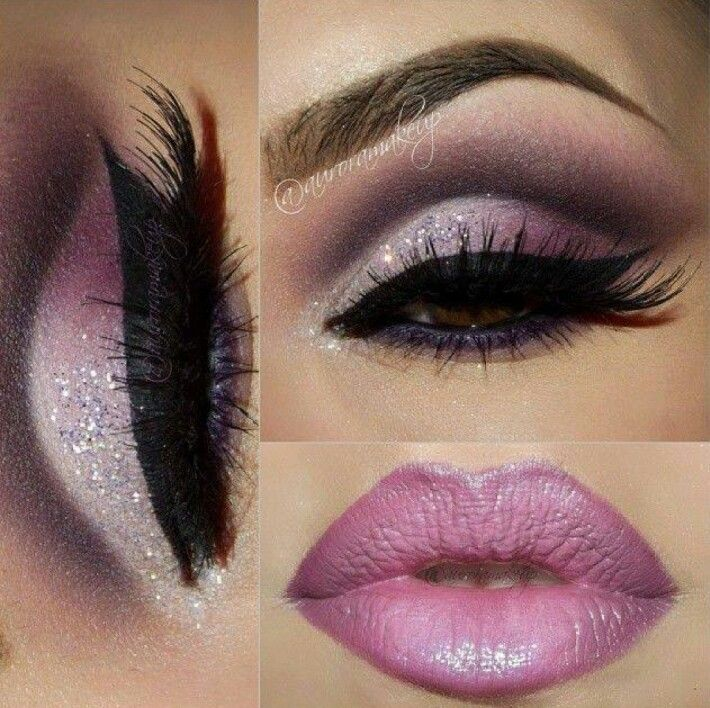 eyeshadow lips pink sparkles Purple eye makeup