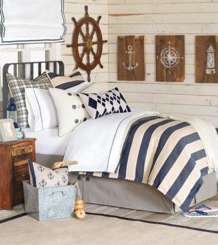 ambiance marine pour cette chambre d co mer ailleurs pinterest maison bord de mer. Black Bedroom Furniture Sets. Home Design Ideas