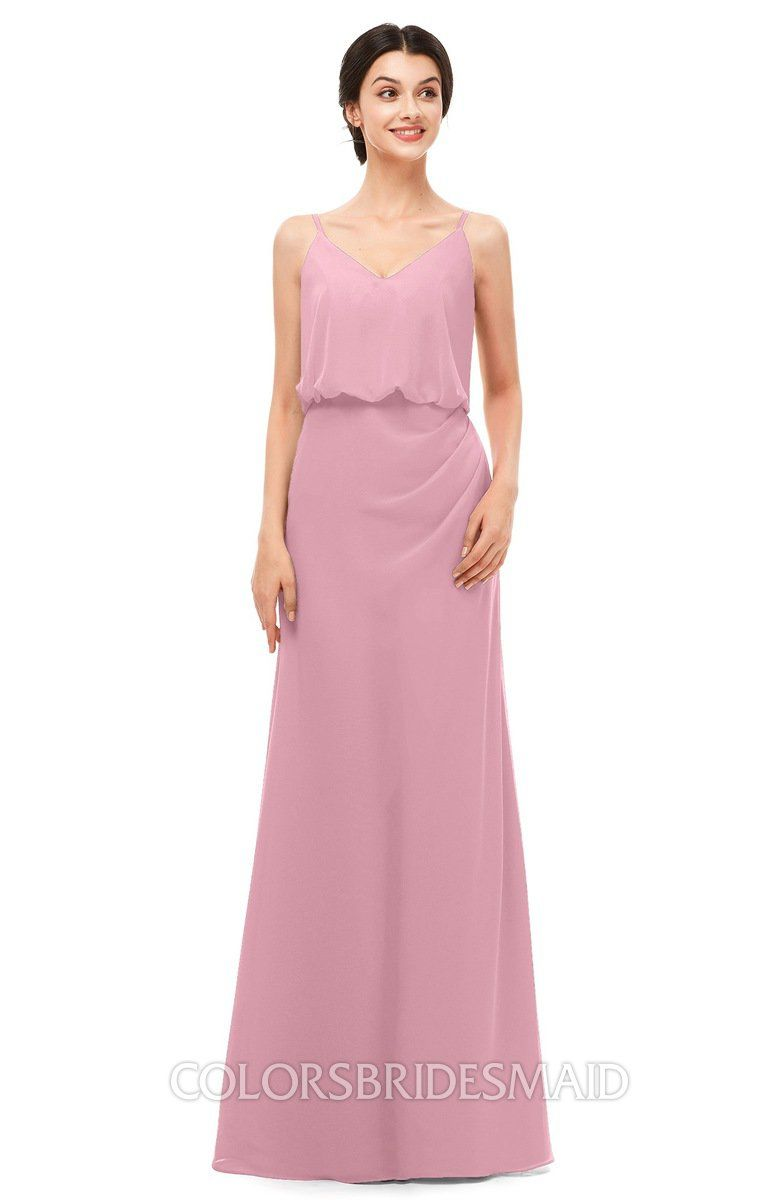 a981c6e2f1f1 Affordable Bridesmaid Dresses Column Simple Floor Length Sleeveless Zip up  V-neck can be accessed at colorsbridesmaid.com.
