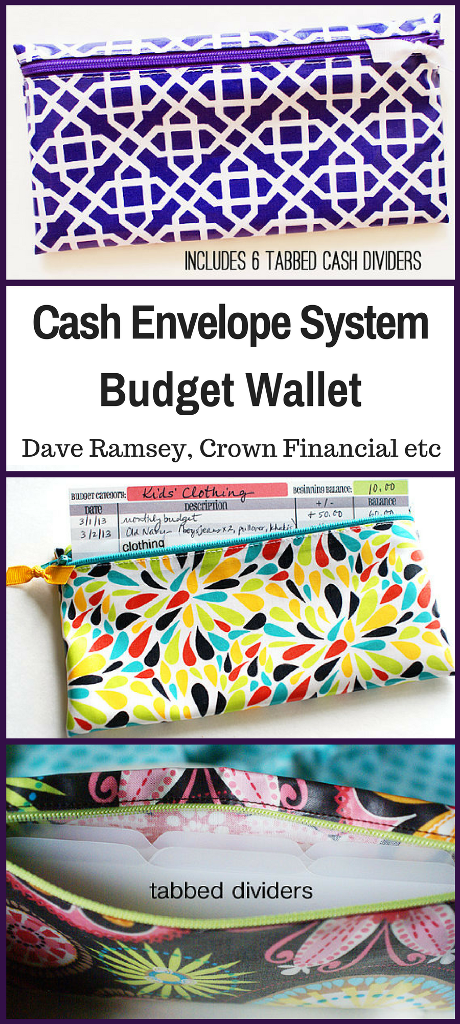 Dave Ramsey Crown Financial Cash Envelope System Budget Wallet With 6 Tabbed Dividers Purple And White Laminated Cotton More Colors Available