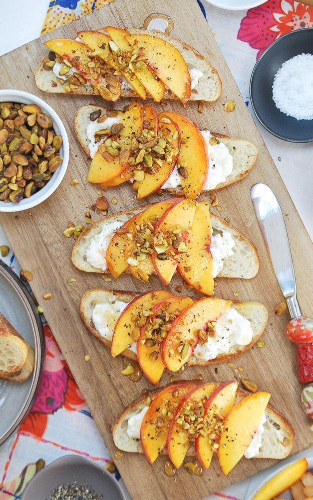 Peach & Burrata Crostini