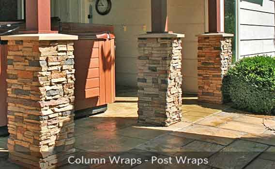 Stone Columns Wraps Kits : Stone columns on a brick house fireplace