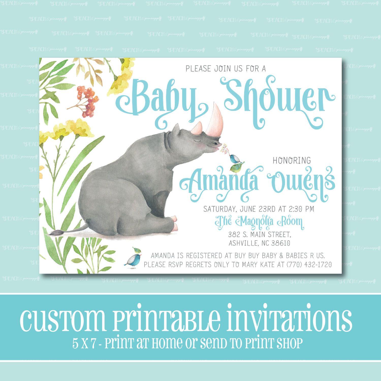 Custom BABY SHOWER Invitation, Rhino Baby Shower Invitation ...