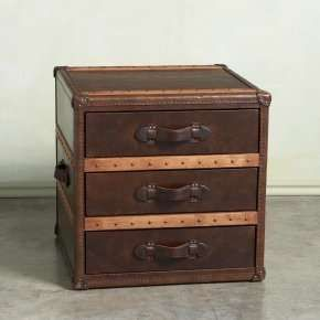 Superb 3 Draw Steamer Trunk/end Table