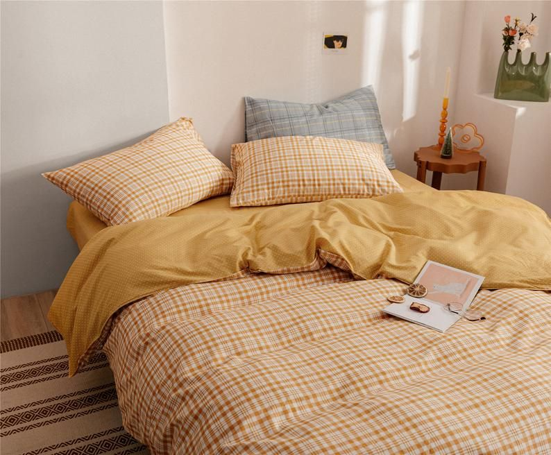 Concise Style Cute Orange Ginger Lattice Duvet Cover Set 100 Etsy In 2021 Bedroom Decor Room Ideas Bedroom Home