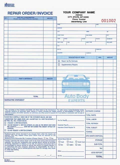 4-part auto body repair order/invoice carbonless | business forms, Invoice templates