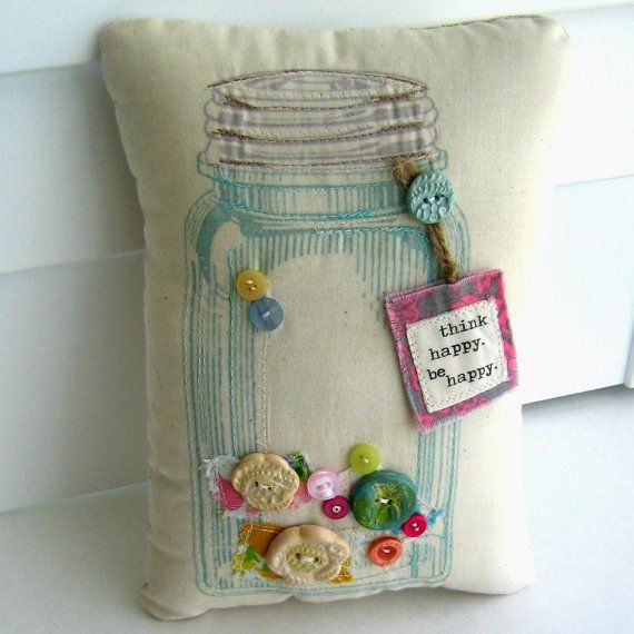 Mason Jar Pillow, Button Pillow, Appliqued Pillow, Shabby Pillow, Retro Pillow, Fabric Scrap Pillow, No. 157