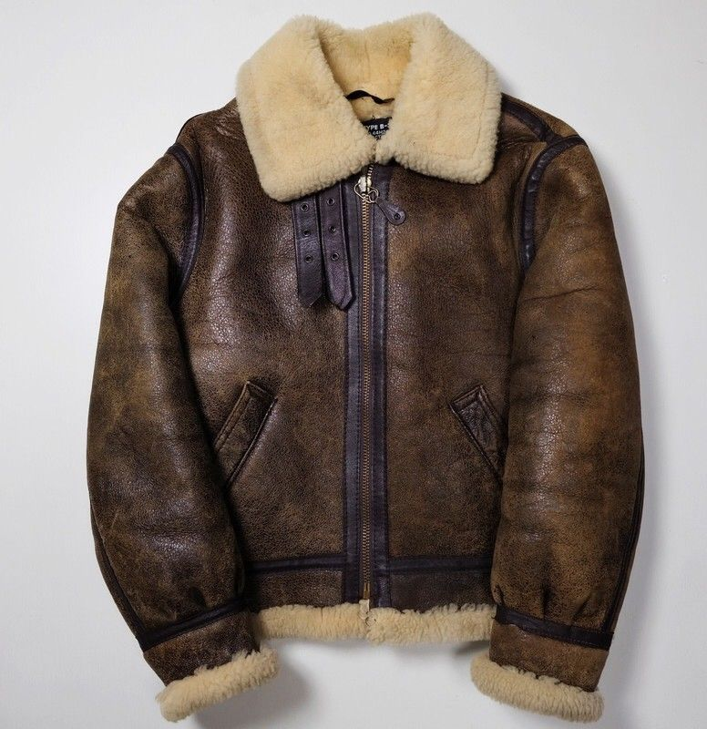 Mens Black Military Shearing Sheep Leather Bomber Jacket