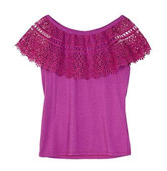 Amy Byer Girls' 7-16 Girls Cha Cha Crochet Top