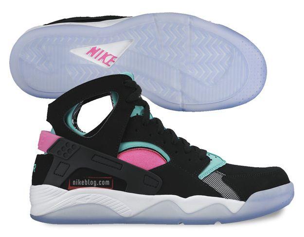 Nike Air Flight Huarache- Black, Pink, and Aqua