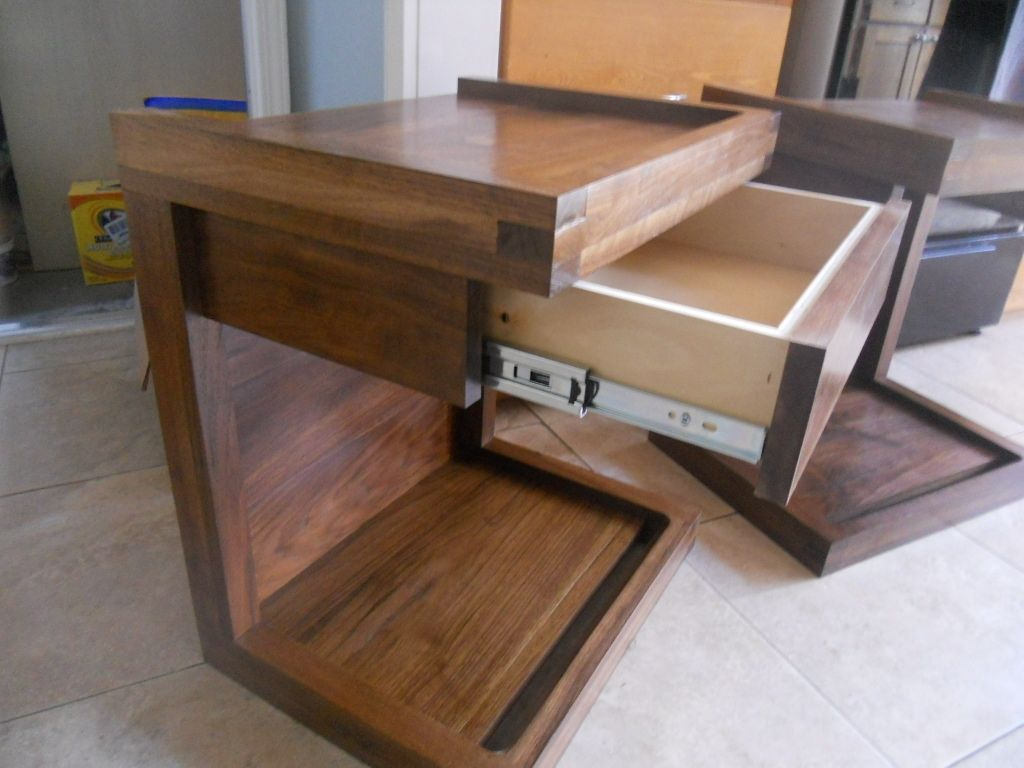 C Shaped Nightstand With Drawer