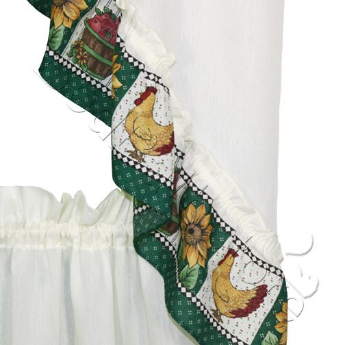 Inexpensive Kitchen Curtain Ideas: Inexpensive Country Kitchen Curtains- Sunflower Rooster