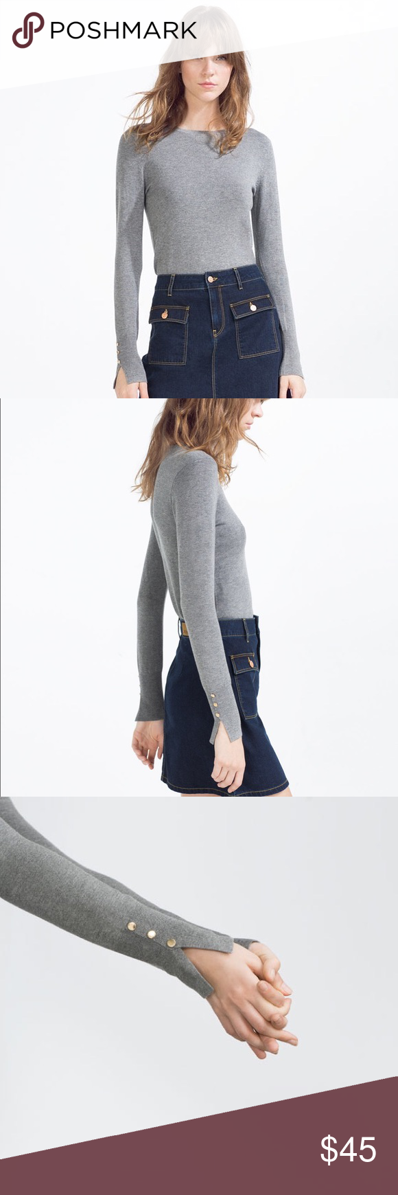 Mid grey knit sweater with sleeve details NWT | Scoop neck ...