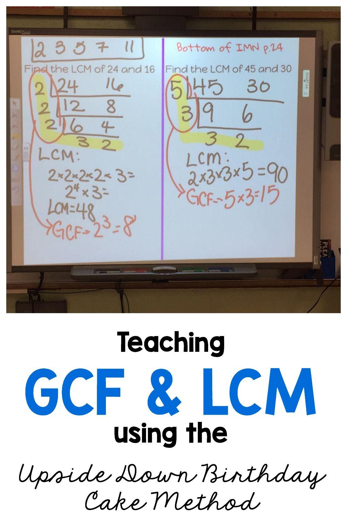 Gcf Lcm And Prime Factorization Using The Upside Down Birthday Cake Method Ladder Method Sixth Grade Math Prime Factorization Teaching Middle School Maths