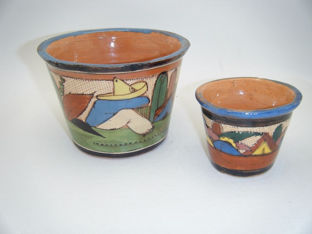 :D❤️Vintage Set 2 1930s Mexican Pottery Planter Pots Tonala Jalisco Petatillo Lucano