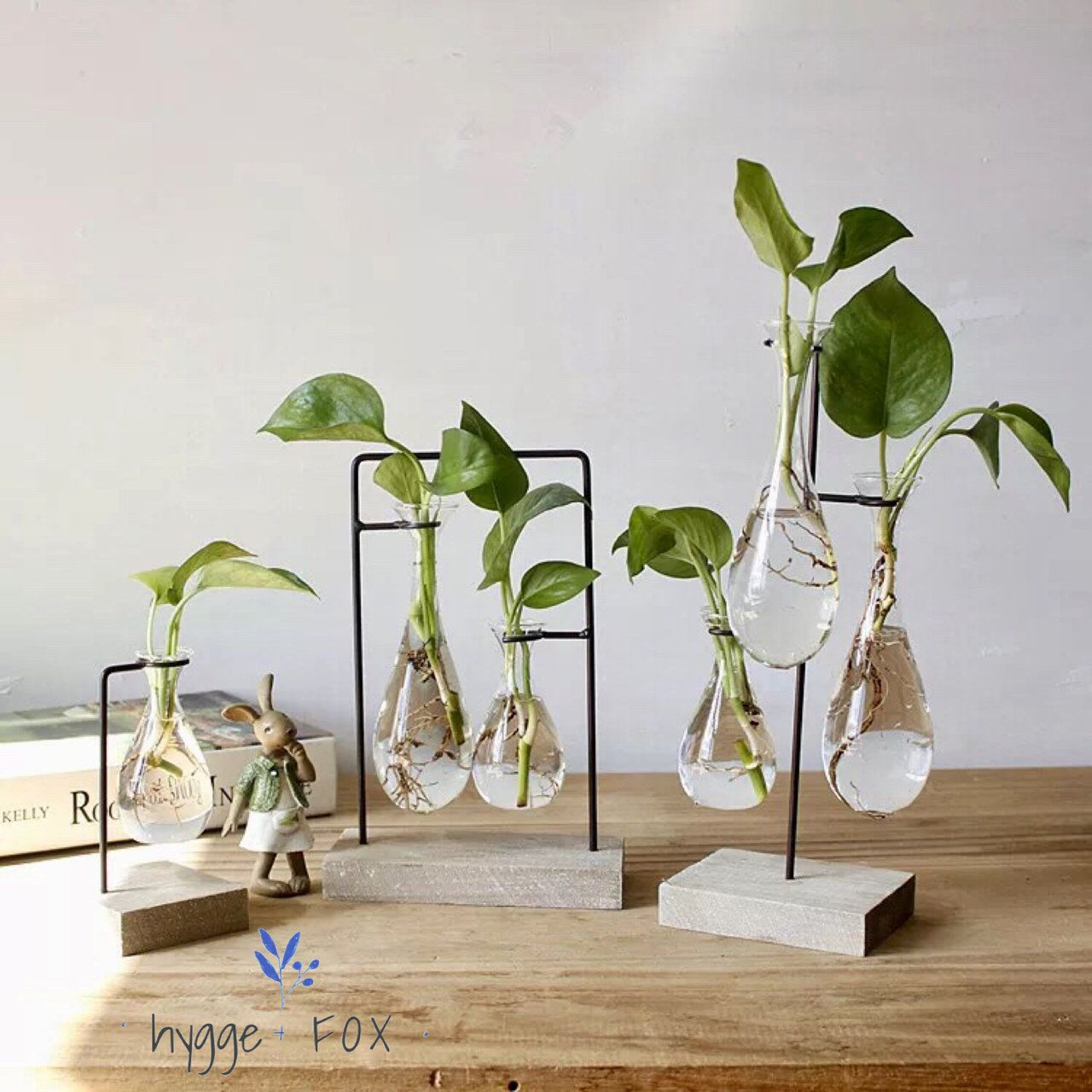 Simple Hygge Glass Vase Wood Set, Water Plant, Glass Vase