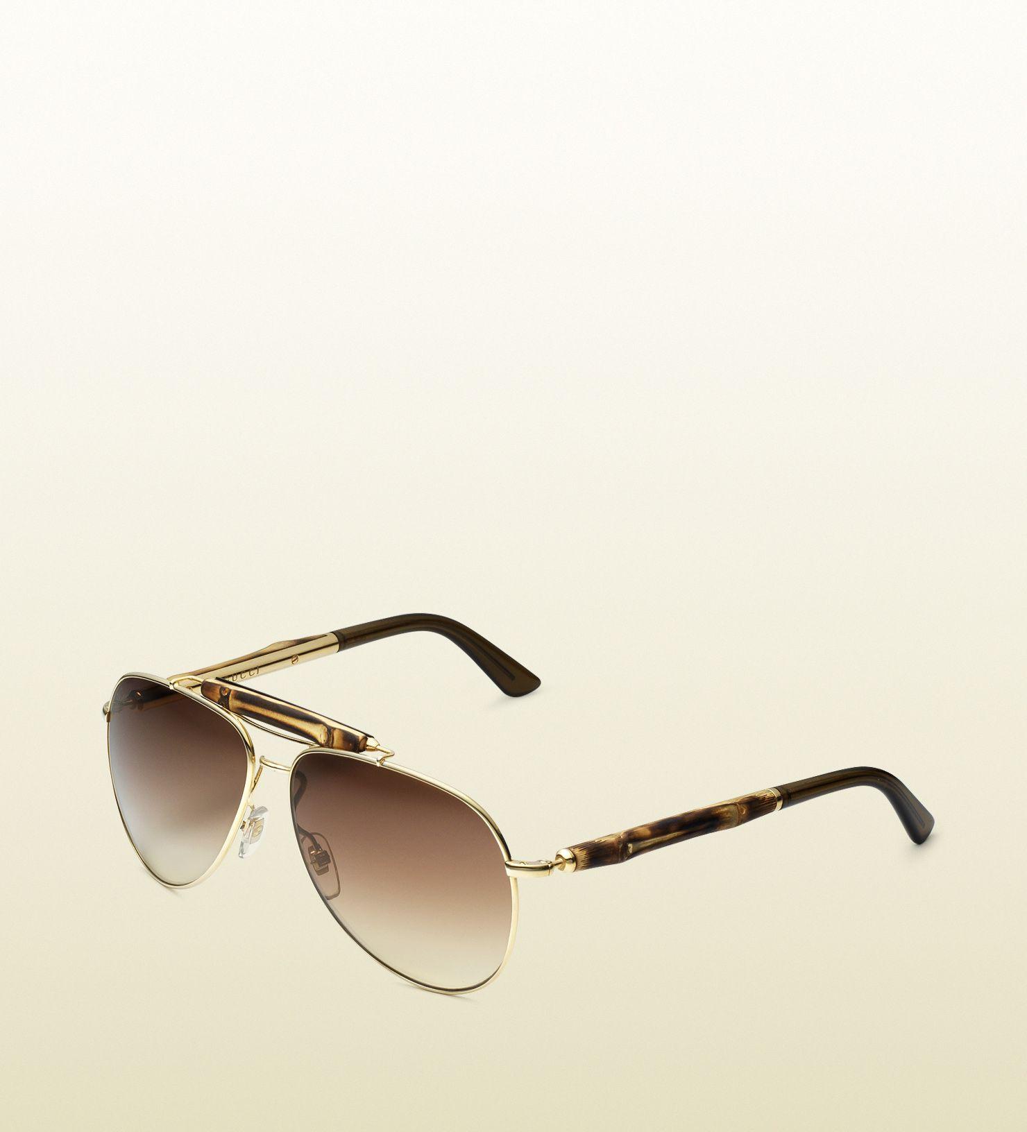 2c9dcbbeeed bamboo aviator sunglasses by Gucci