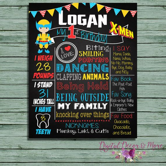 1st Birthday Wolverine Superhero Chalkboard Birthday