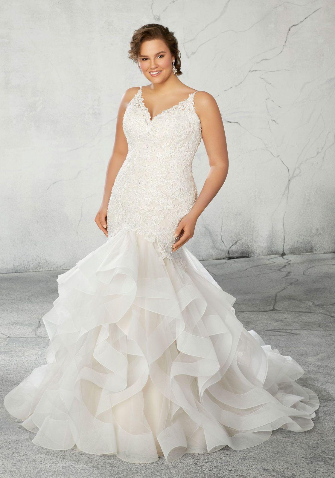 4acdd787b34b Raquel Wedding Dress Crystal Beaded Alençon Lace Appliqués and Straps Over Chantilly  Lace Body with Horsehair Edged, Flounced Tulle Mermaid Skirt.