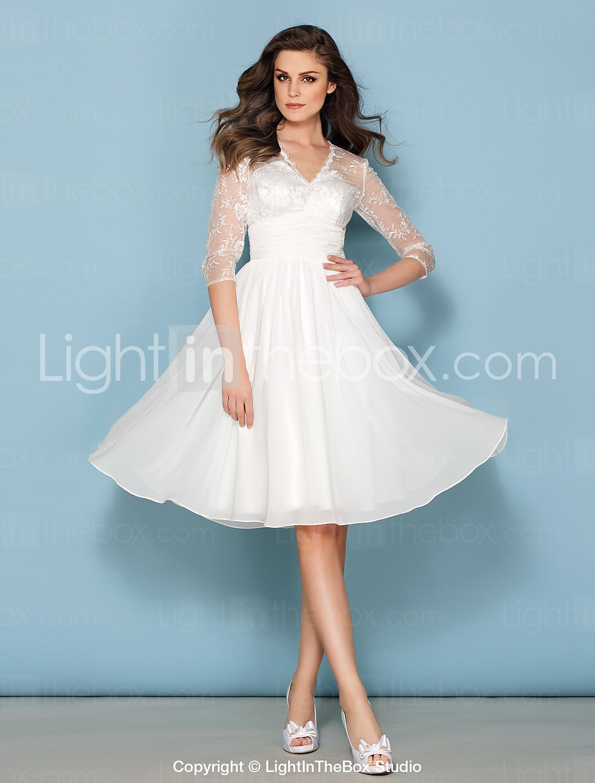 Lanting Bride® A-line Petite / Plus Sizes Wedding Dress Knee-length ...