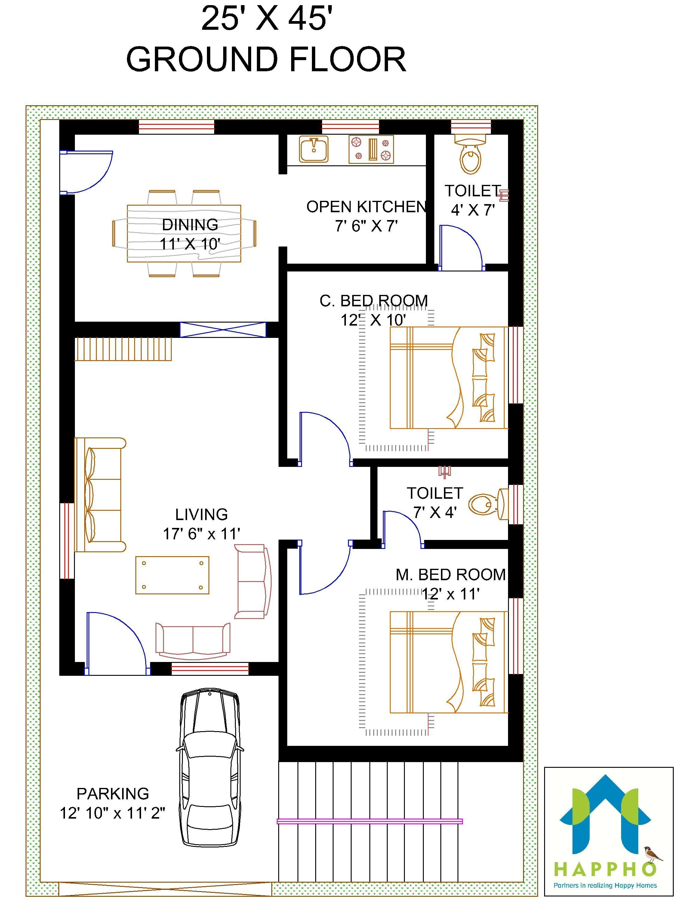 Free Duplex House Design: 2 BHK Floor Plans Of 25*45 - Google Search