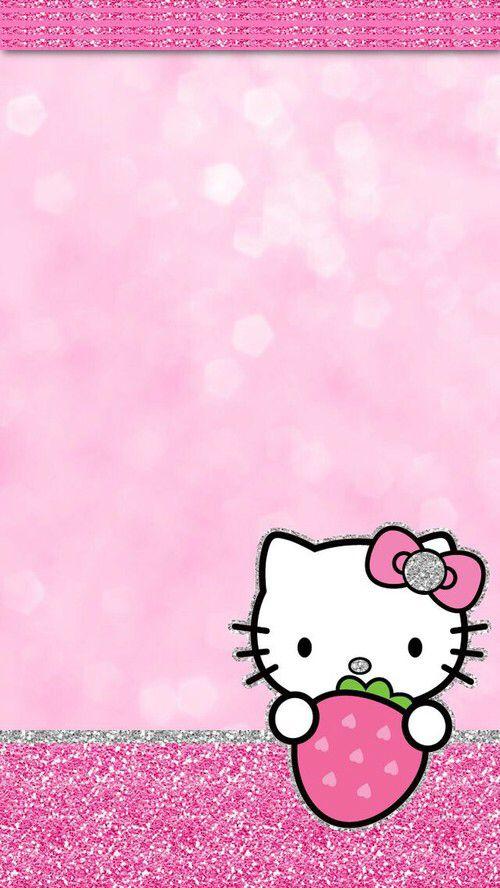 Hk Glitter Strawberry Iphone Hello Kitty Kitty Hello