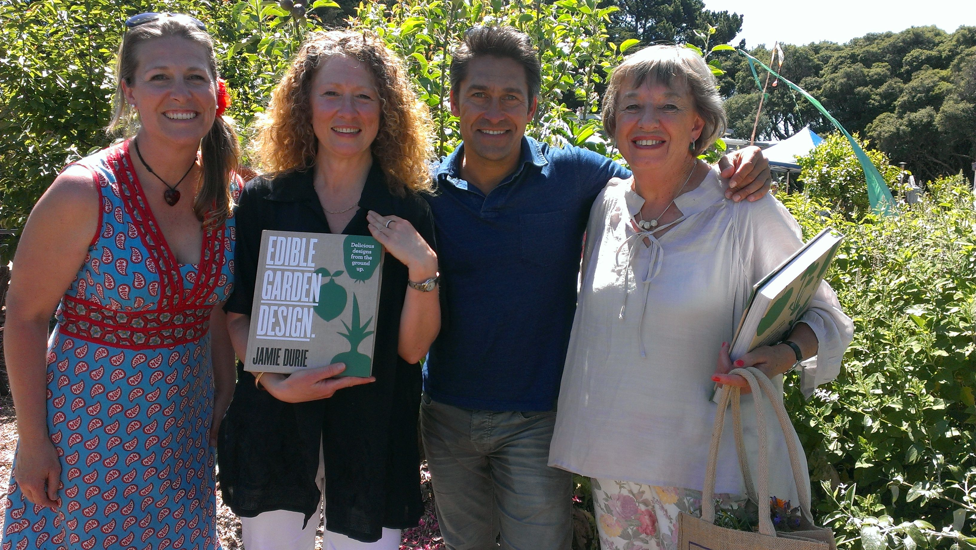 Jamie Durie with the 3 past presidents Sam Smith, Faye Connors & Carmel Smith, of Barwon Heads Community Arts Garden, Vict, Australia