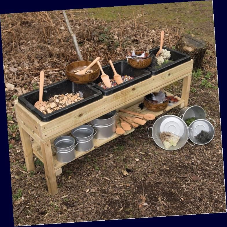 Triple Treasure Table Mud Kitchens Outdoor Play Early Years The Consortium Education In 2020 Mud Kitchen Outdoor Play Outdoor Kitchen