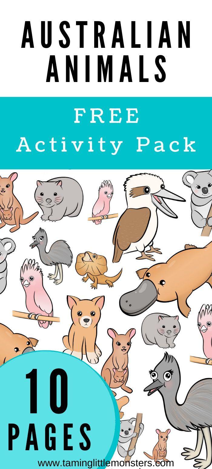 Australian Animals Free Activity Pack Australian Animals Preschool Australian Animals Counting Activities Preschool