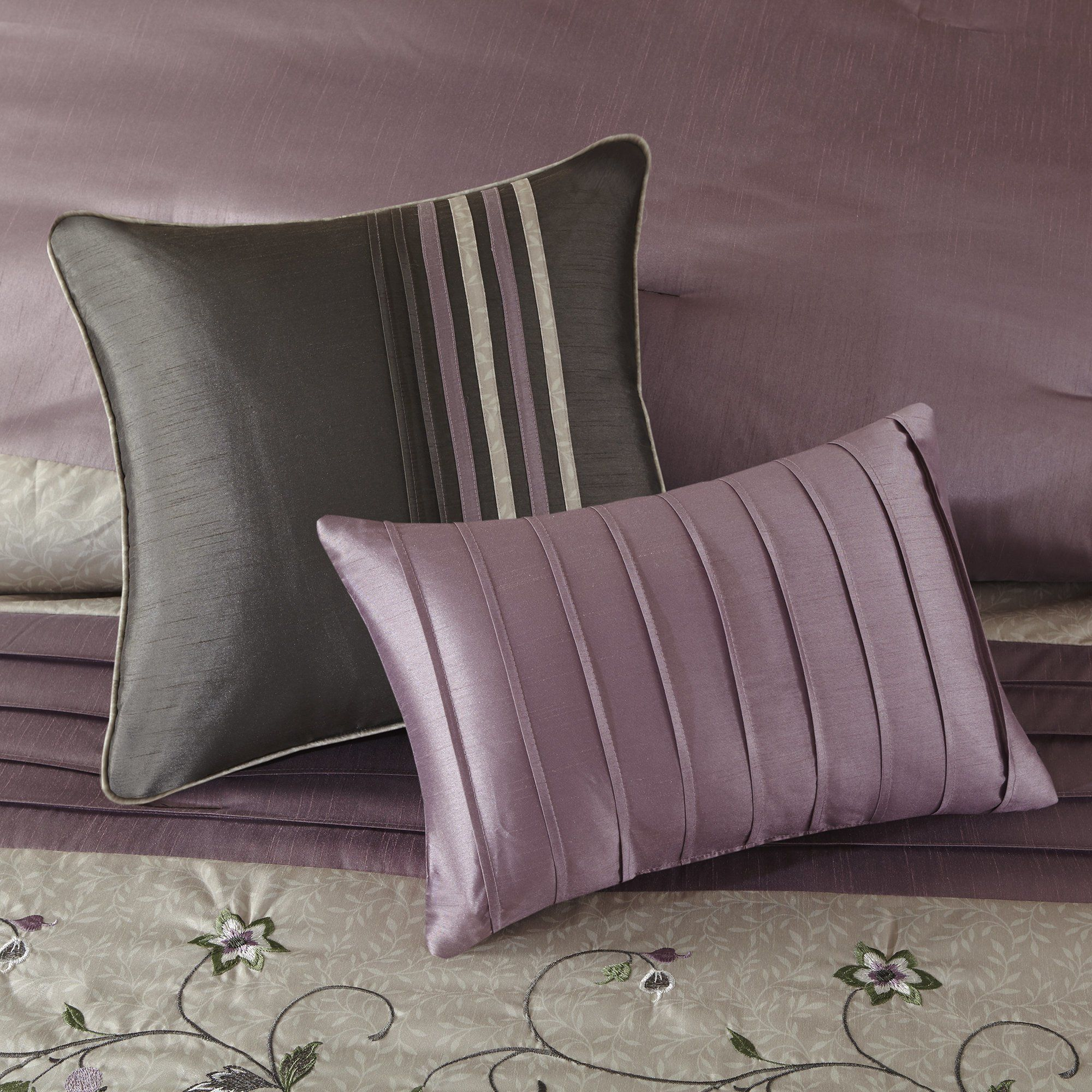 7 Piece Plum Purple Charcoal Grey Floral Embroidery Comforter Queen