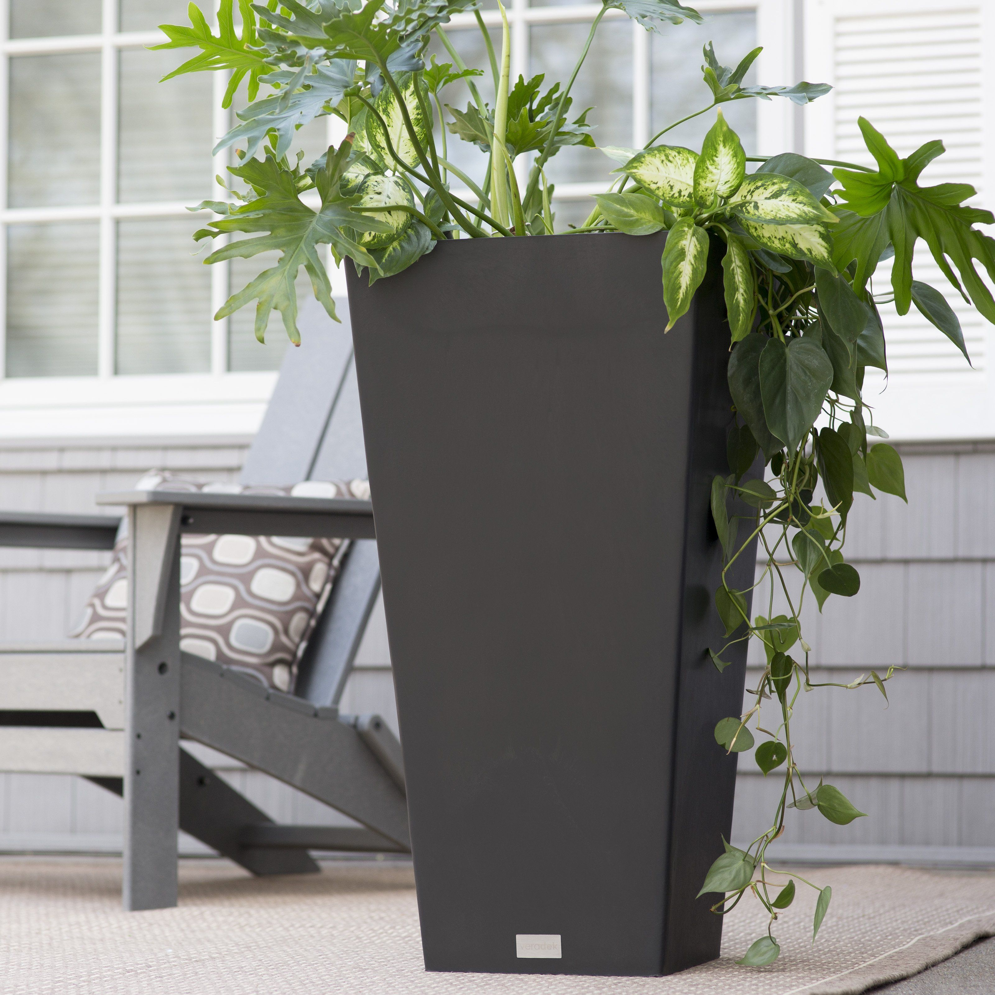 Veradek Midland Tall Square Planter - Tall and distinctive, the Veradek Midland Tall Square Planter is beautiful flanked along an entrance wall or as a patio accent. It's perfectly...