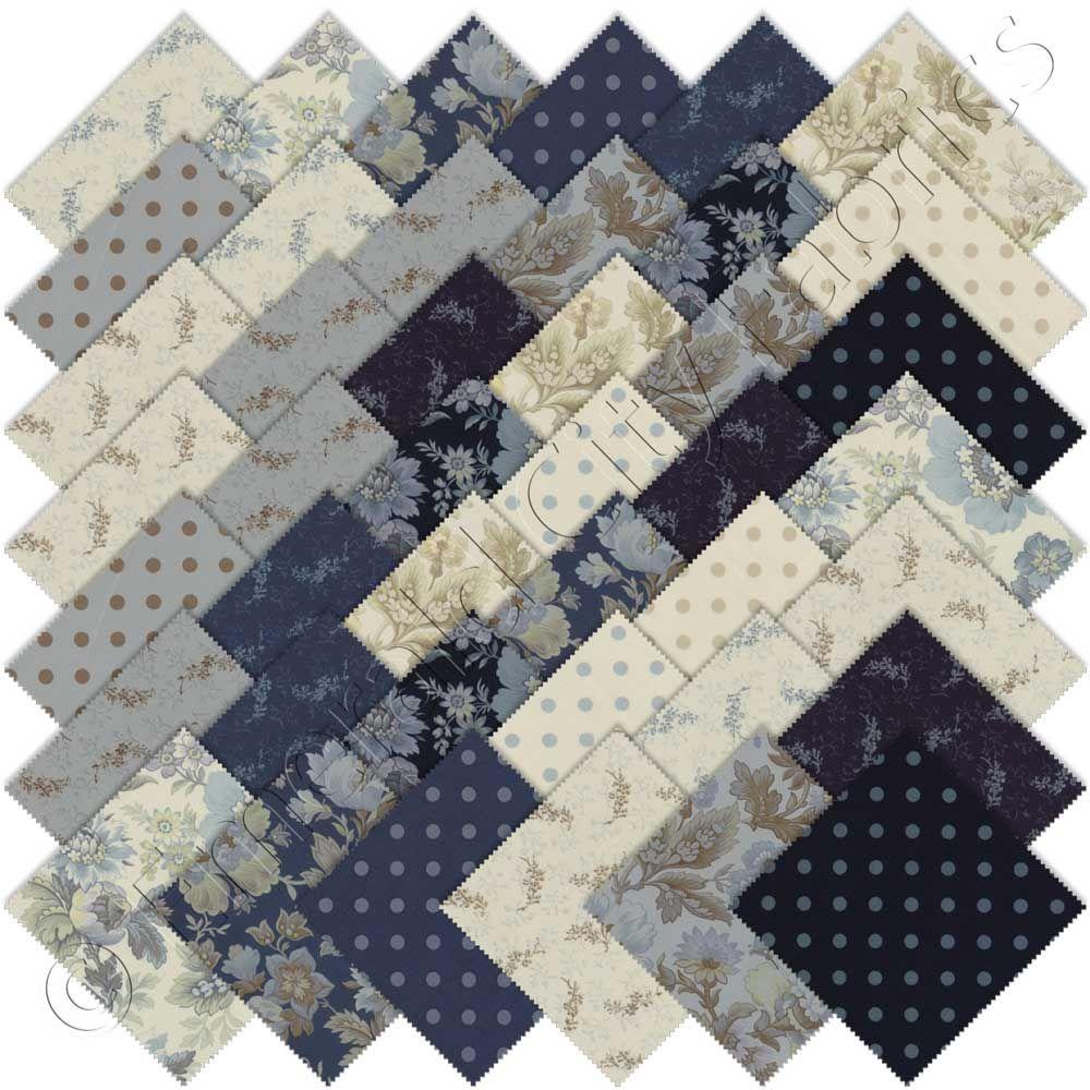 Moda Snowbird Prints Charm Pack, Set of 42 5-inch (12.7cm) Precut Cotton Fabric Squares