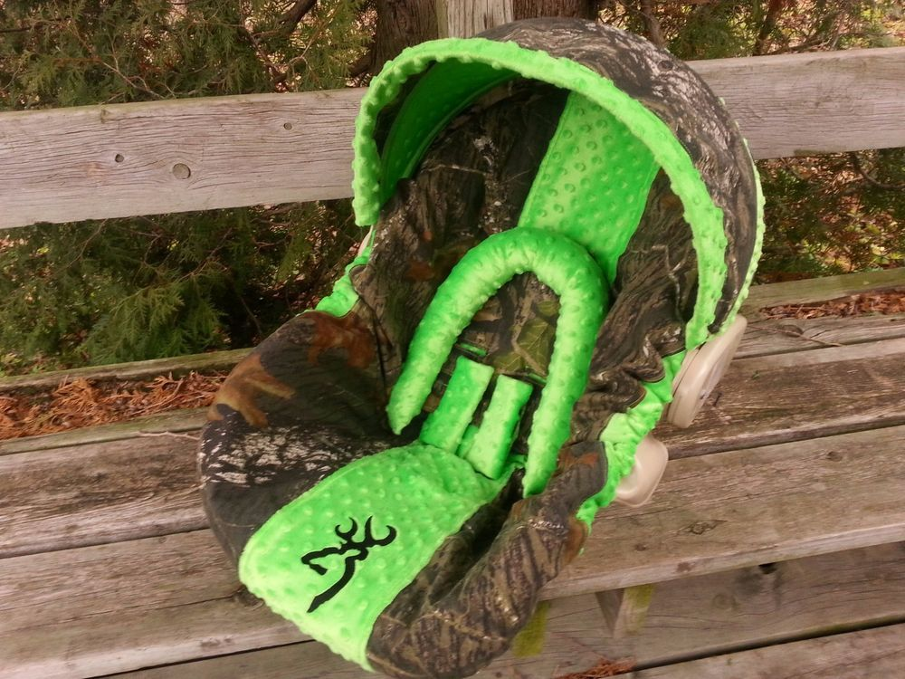 Camo Infant Car Seat Cover Mossy Oak Fabric And Lime Green Minky W Buck Head In Baby Safety Seats Accessories