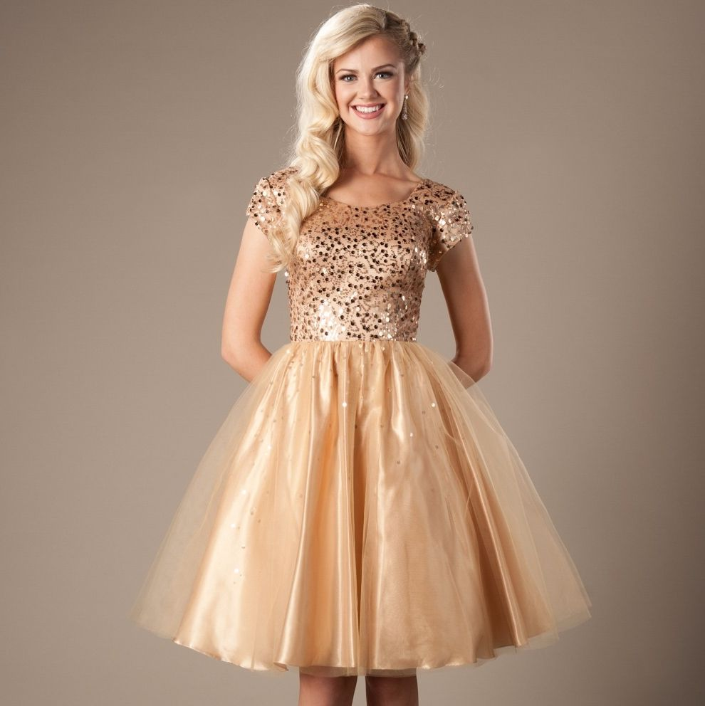 Gold sequins tulle short modest prom dresses 2017 cap