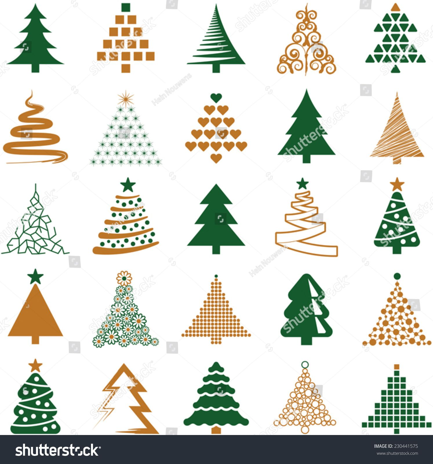 Christmas Tree Icon Collection Vector Illustration Christmas Card Design Christmas Tree Outline Tree Icon
