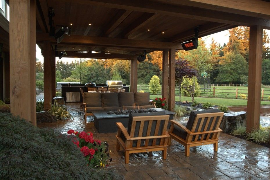 Gorgeous Covered Stone Patio With Heaters Gas Fire Pit And An Outdoor Kitchen From 1 Of 8 Proje Patio Design Outdoor Furniture Inspiration Patio Seating Area