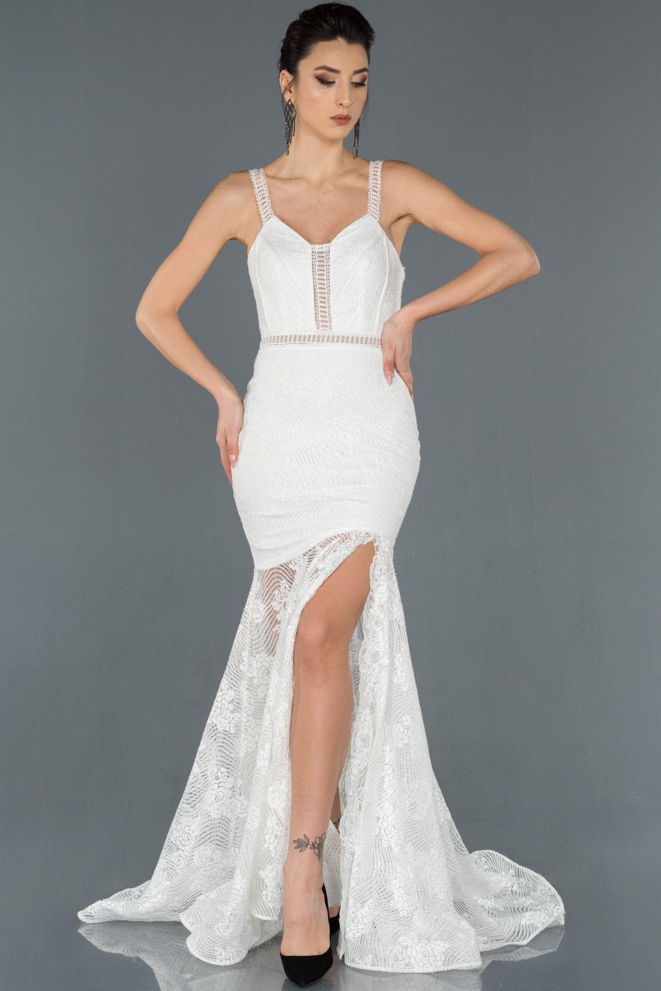 Ekru Bacak Dekolteli Kuyruk Detayli Gupurlu Balik Abiye Abu1174 2020 The Dress Elbise Modelleri Elbise
