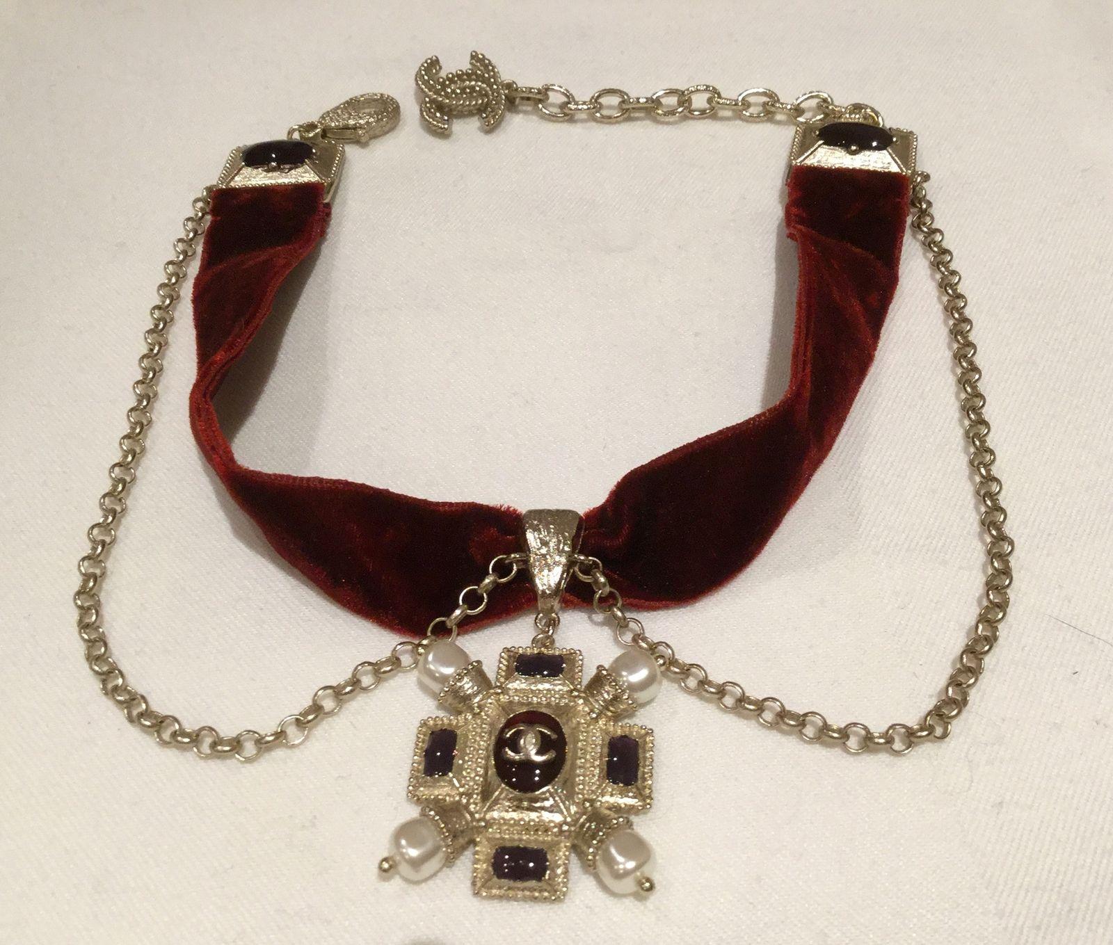 Rare chanel red velvet choker necklace brushed finish jewel pendant rare chanel red velvet choker necklace brushed finish jewel pendant gold chain retro aloadofball Choice Image