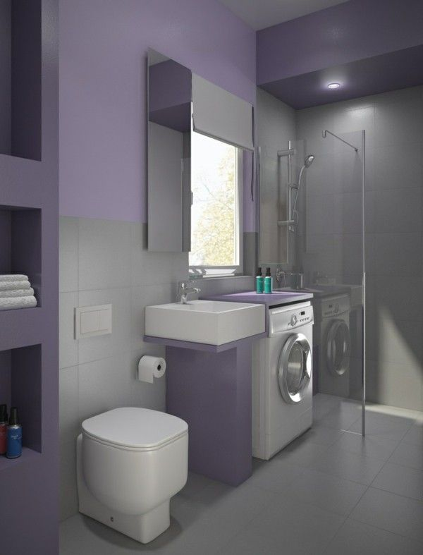 small bathroom design washing machine purple paint