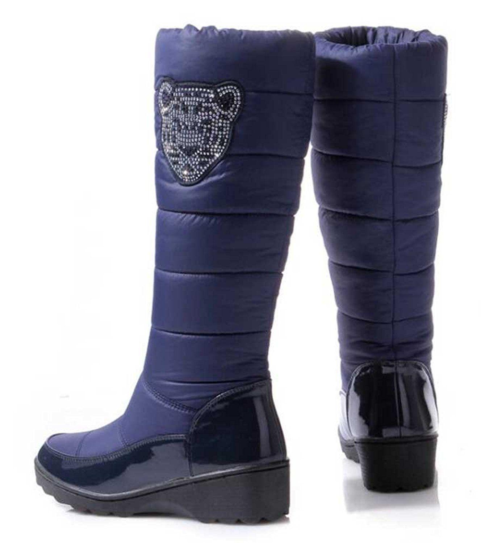 Women's Stylish Waterproof Rhinestone Faux Fur Lined Mid Calf Mid Wedge Heel Warm Winter Snow Boots