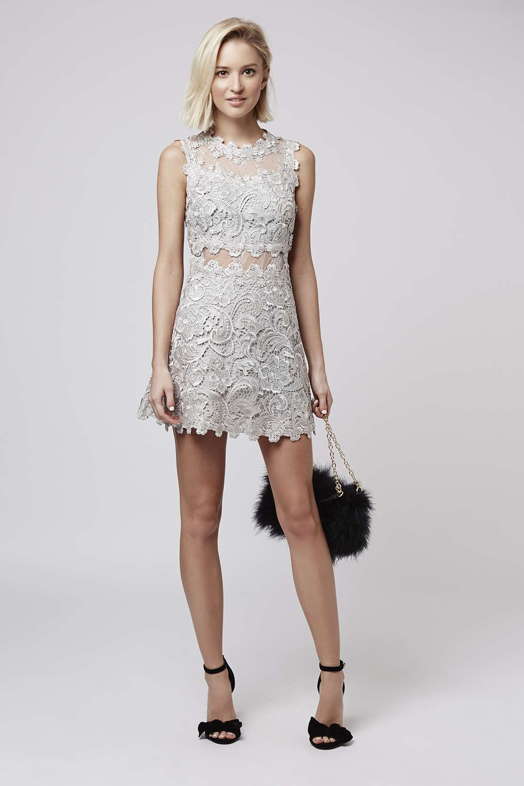 Petite Structured Lace Skater Dress Petite Clothing And Topshop