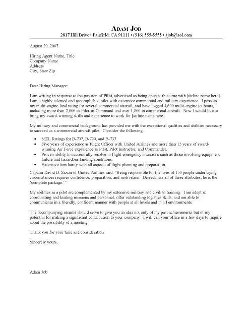 Pilot Cover Letter Resume Cover Letter Cover Letter For Resume Resume Cover Letter Examples Cover Sheet For Resume