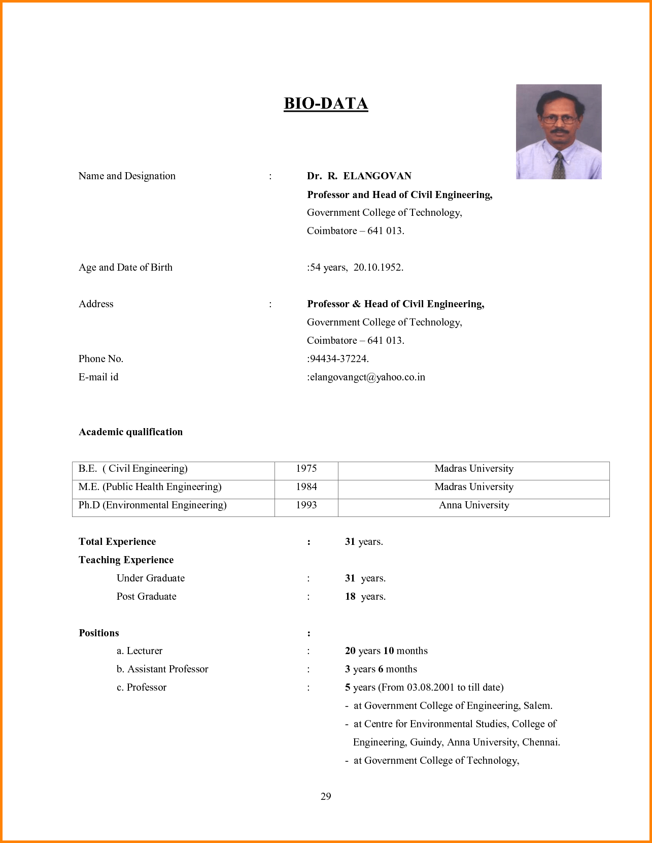 biodata sample for students