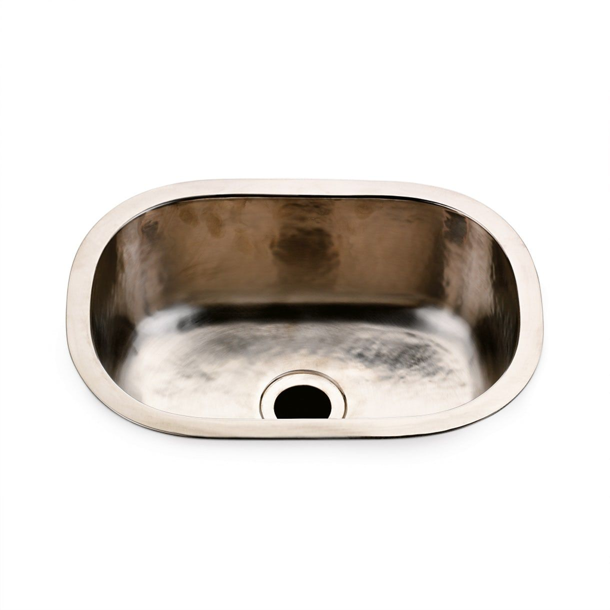 Normandy 15 34 X 11 1316 X 5 716 Hammered Copper Oval Bar Sink With Center Drain In Matte Nickel Contemporary Metal Bath Furniture F Bar Sink Sink Waterworks