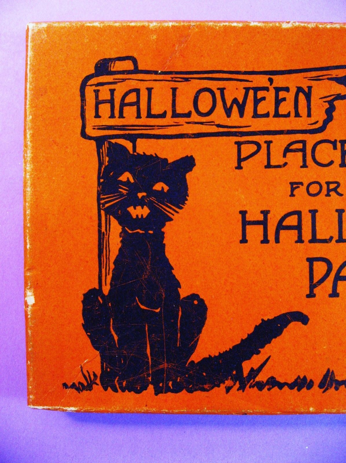 2 Vintage Empty Orange Halloween Boxes for Party Invitations & Place ...