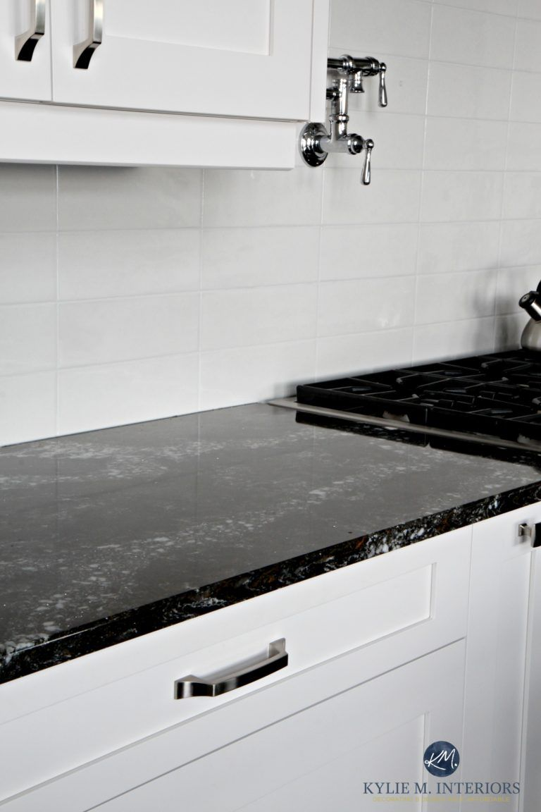 Cambria Ellesmere Black Quartz Countertop, White Kitchen Cabinets And Off  White Light Gray Subway