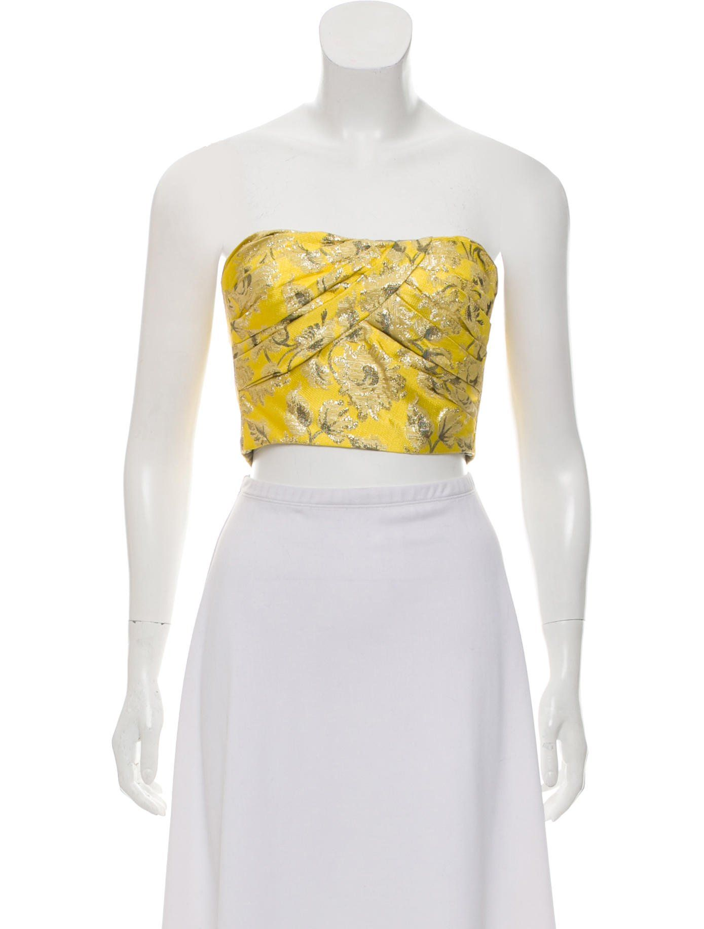 b7d87aedef1d64 Yellow and metallic gold brocade Prada strapless crop top with pleated  accents at bust and concealed